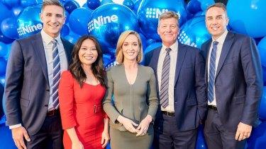 Nine News Perth team Matthew Pavlich, Tracy Vo, Louise Momber, Michael Thomson, Paddy Sweeney.