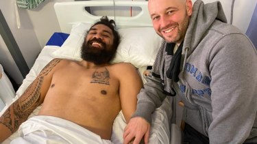NRL chief executive Todd Greenberg visits Mose Masoe at Pinderfields Hospital in Wakefield.