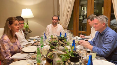 Mathias Cormann at dinner in Bogotá with the Colombian Vice-President Marta Lucia Ramirez.
