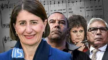 Indigenous leaders have backed Gladys Berejiklian's push for a change to the national anthem. Also pictured are the chief executive of the Metropolitan Local Aboriginal Land Council, Nathan Moran; Federal Labor Senator Malarndirri McCarthy; and former chairman of the Indigenous Advisory Council Warren Mundine.