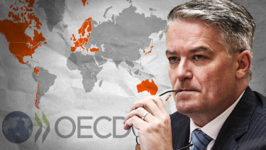 Mathias Cormann is flying around the world campaigning to be appointed secretary-general of the OECD.
