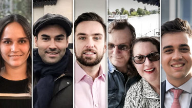 From left, Australians Camille Cross, Michael Mizon, Mitch Malady, Tony and Sandy Chamberlain and Rohan Watt will be voting in the UK on December 12.