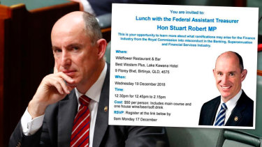 Assistant Treasurer Stuart Robert and the flyer promoting his appearance at a fundraiser about the royal commission.