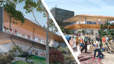 Apple has released a new design for its Federation Square flagship store (left) after the original design (right).
