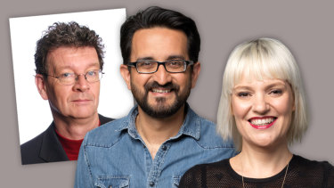Former ABC Melbourne breakfast host Red Symons, left, and new presenters Sami Shah and Jacinta Parsons.