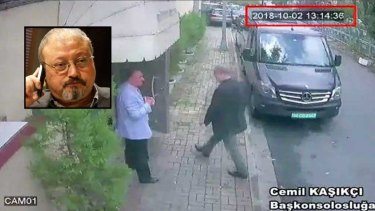 CCTV footage claims to show Saudi journalist Jamal Khashoggi entering the Saudi consulate in Istanbul on October 2, where Turkish officials say he was killed.