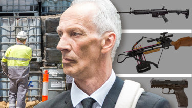 Accused toxic dumper Graham Leslie White was found with a cache of loaded illegal weapons and an armoured personnel carrier in his backyard.