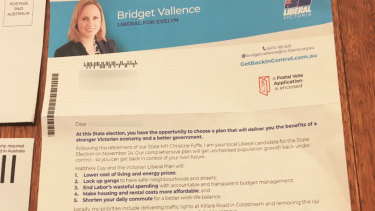 Bridget Vallance. is the Liberal candidate for the safe seat of Evelyn.