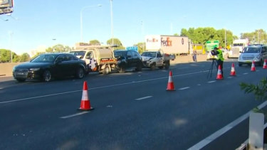 One person has died during a crash on the M4 at Mays Hill in Sydney's west.