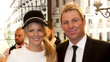 Shane Warne with then-wife Simone Callahan at Derby Day in 2010.