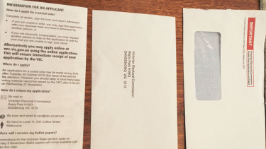 The postal vote application sent to voters by the Liberal Party.