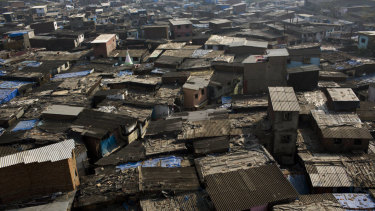 Informal housing stands in the Dharavi slum area of Mumbai.