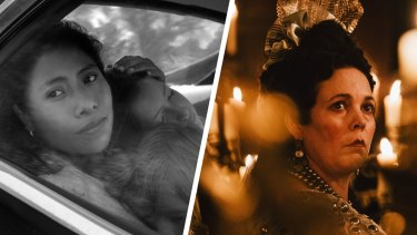 Roma (left) and The Favourite lead the Oscars race with 10 nominations each.