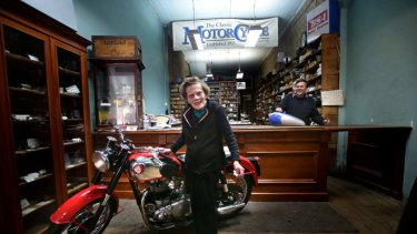 David Beanham and his mother Jean at Modak Motorcycles on Elizabeth Street in 2014. The business no longer operates a shop front.