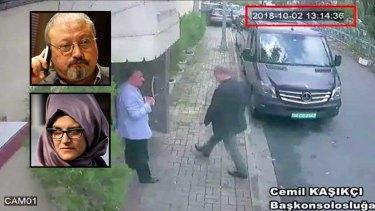 Jamal Khashoggi walking into the Saudi consulate in Istanbul. Inset: Khashoggi and his fiancee Hatice Cengiz.