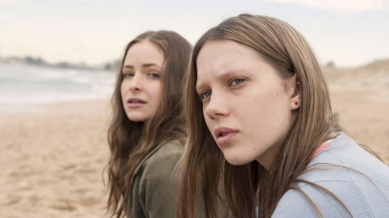 Brenna Harding (right) with Ashleigh Cummings in Puberty Blues.
