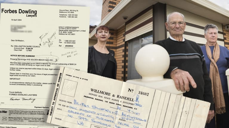 The Ammendola family, Salvatore and Giovanna and their daughter Rosey, with insets of legal documents and receipts relating to their block.