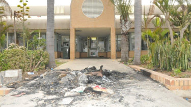 The entrance to the prison after the riot.