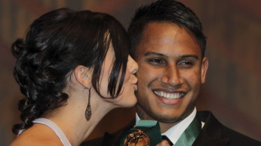 Ben Barba, winner of 2012 Dally M. medal being kissed by his wife Ainslie Currie.