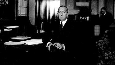Prime Minister Stanley Bruce in his office in Canberra in the 1920s.