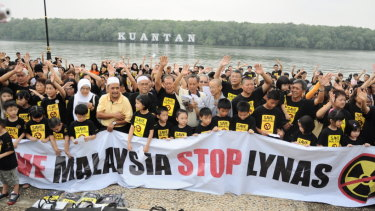 Anti-Lynas protesters pictured in a 2013 protest against the Australian company.