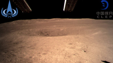 The first image of the moon's far side taken by China's Chang'e-4 probe.