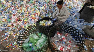 A worker separates plastic bottles at a recycling depot in Beijing.