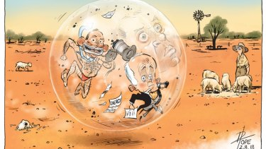Exhibition curator Libby Stewart named David Pope's The Insiders as one of her five favourite cartoons.