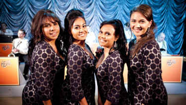 Tapsell (third from left) shot to fame in The Sapphires, in which she co-starred with (from left) Deborah Mailman, Jessica Mauboy and Shari Sebbens.