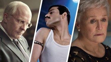 Oscar contenders: Christian Bale in Vice, Rami Malek in Bohemian Rhapsody and Glenn Close in The Wife.