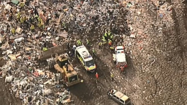 One man has been killed and another injured after becoming trapped underneath debris in an industrial accident at Eastern Creek.