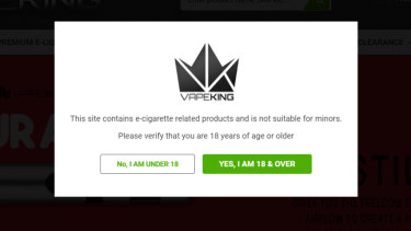 The Vapeking website checks your age by asking if you're under or over 18.