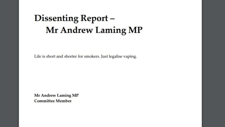 Liberal MP Andrew Laming lodged a 10-word dissenting report, supporting the legalisation of e-cigarettes.
