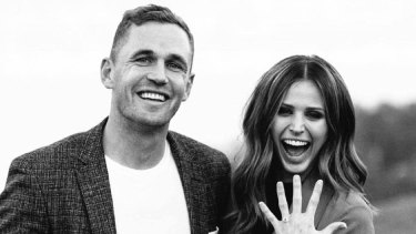 Joel Selwood and his fiance, Brit Davis.