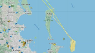 The flight path of a rescue helicopter involved in the search off Moreton Island on Thursday morning.