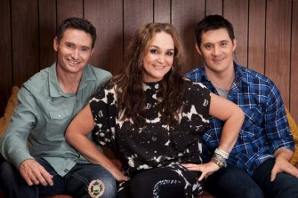 Dave Hughes, Kate Langbroek and Ed Kavalee in 2015.