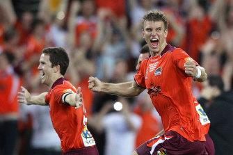 Eric Paartalu celebrates victory after Brisbane Roar's 2011 A-League grand final win.