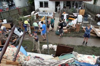 The clean-up in Rosalie, Brisbane, after the 2011 flood.