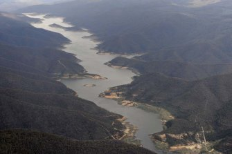 The Thomson Dam, Melbourne's largest reservoir, is about 56 per cent full.
