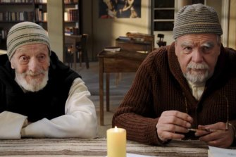 Jacques Herlin and Michael Lonsdale as monks Amidie and Luc in the film Of Gods and Men.