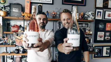 YouTube star Gary Vaynerchuk with Vinomofo co-founder Justin Dry as the pair launch Empathy Wines.