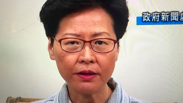 Hong Kong chief executive Carrie Lam on television.
