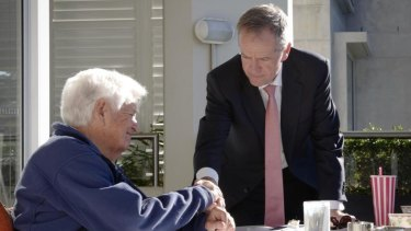 Labor leader Bill Shorten during his last meeting with former prime minister Bob Hawke.