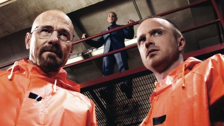 Bryan Cranston (Walter White) and Aaron Paul (Jesse Pinkman) in Breaking Bad.