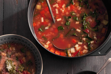 Minestrone soup. Photo: Marina Oliphant. Food styling and preparation by Caroline Velik.