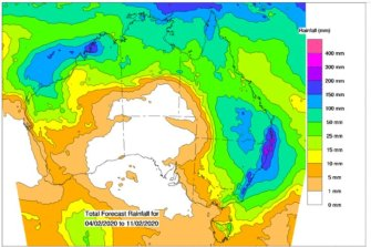 The eight-day forecast shows cumulative falls are likely to be the largest on the north-east NSW and south-east Queensland coast.