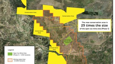 The yellow area shows the 33,000 hectares of land set aside as a conservation zone to protect the black-throated finch and other threatened species.