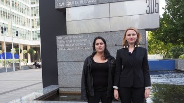 Amanda Storey (right), director of legal practice at the Consumer Action Law Centre, with Irene Savidis outside the banking royal commission, where Ms Savidis gave evidence in March 2018.