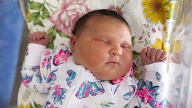 Newborn Remi Frances Millar weighed in at 5.88kg - or 12.9lb. The average birth weight of babies in Australia is 3.3kg - or 7.2lb.