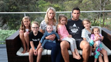 Loving family: Kristie Powell's baby son Slater will now be looked after by Michelle and Ryan Powell, pictured here with Kalani, Diesel, Airlie, Talara and Zyla.
